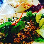 Beef Laarb, papaya salad, heavenly beef jerky