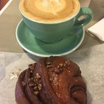 Sticky Knot donut and Latte!! Yummo...
