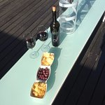 Roof top snack and wine