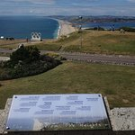 Chesil Beach and Olympic rings sculpture from Heights Hotel