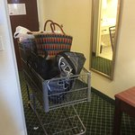 This is how we had to pack up our luggage to leave. No carts could be found, nor hotel staff to