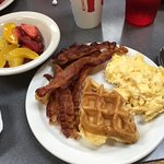First plate from the buffet - crispy bacon, delicious waffles!