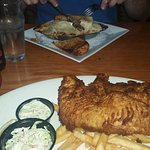 Dinner at the Albany Pump Station. The huge fish & chips is closest.