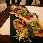 Sea bass taco, prawn bao and sea bass ceviche