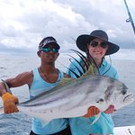 One of the many HUGE Rooster fish we caught!!