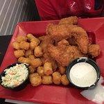 We had chicken tenders, perch basket, walleye dinner, kids grilled cheese.