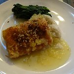 Coconut Mahi with buerre blanc and sauteed spinach