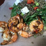 Lentil Salad with Feta and Shrimp Toppings. YUMMY!
