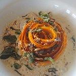 pumpkin with gorgonzola foam and truffle honey