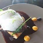 beef with Parmesan foam and black garlic gel
