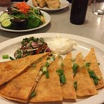 Chicken quesadilla and salad