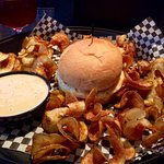 The Humpty Dumpty Burger with fresh made chips!! Dang good burger!