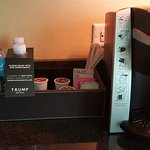 Single-cup Keurig coffee machine and plenty of water for the hot Las Vegas desert sun