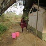 The bucket shower being prepared!