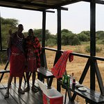 Sundowner time! An Elephant & Giraffe came to the water hole whilst sipping our G & T's within 5