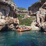Ris Marine rib at the Blue Cave route, visiting Stiniva bay at island Vis.