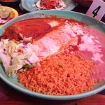 Chili Relleno, Beef Enchilada, rice & beans Combo Plate