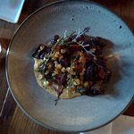 Cavatelli, boudin noir, maïs, champignon homard