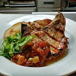 Grilled Porkchop with Chipotle Peach Chutney