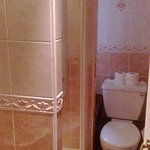 Photo shows Shower and Toilet, the wash hand basin is on the left.