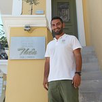 Owner Panos at the entrance to Marouso Room