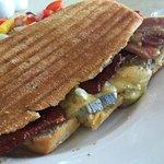 Harrogate blue brie and local bacon panini.