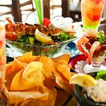 Fresh seafood specialities at the one of the waterfront restaurants in Port Aransas, Texas