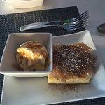 Bougatsa (homemade) - Greek custard with fillo, cinnamon & sugar, ice cream drizzled with carame
