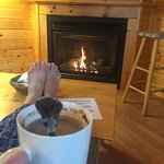 Cranberry cabin even has a fireplace
