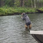 Fishing for rainbow trout after catching our limit.