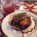 Pork Belly & Peach Tostada (check out the prickly pear margarita!)