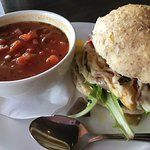 Vegetarian soup and sandwich