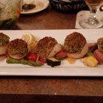 Basil crusted scallops - tender and delicious; served with mixed veggies