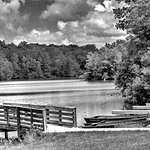 B/W image of boat dock