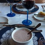 Chilled strawberry and rhubarb soup was creamy, and over the moon delicious
