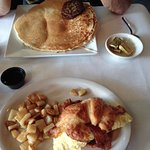 Big stuffed Blueberry pancake and Croissant with Rosemary potatoes