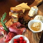 This is what our charcuterie board and cheese looked like.