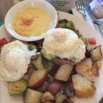 Brussel Sprouts hash with crab Benedict, hollandaise on the side.
