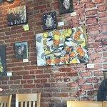 Coconut Shrimp, Bourbon Street Chicken and wall art decor.