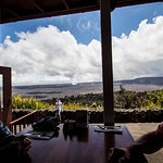 At our table overlooking the volcano.