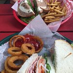 Ham n cheese on rye with fries / turkey club with onion rings