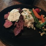 Tri-steak, with mashed potatoes and vegetables, and horseradish dressing