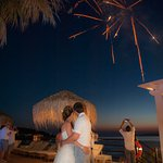 Fireworks during wedding at Delfino Blu