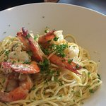 Prawn pasta special for the day. Prawns fresh from the trawlers.