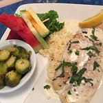 butter fish with foul Brussels sprouts