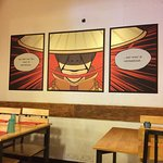 Mushroom and cheese omelette at Cafe Thulp. Cute comic book superhero decor.