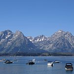View of Jackson Lake and the Tetons above the marina