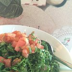 tabbouleh (chopped parsley with tomatoes and cracked wheat).