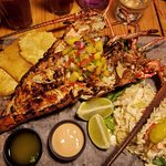 Grilled Caribbean lobster with a lime mango salsa.