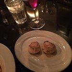 Steak de Burgo, half and half manicotti, scallops and cake.  Red Velvet and Chocolate!